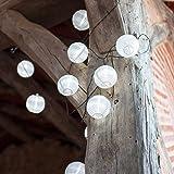 Lights4fun Lot de 2 x Guirlandes Lumineuses LED Solaires avec 10 Lampions Chinois Blancs