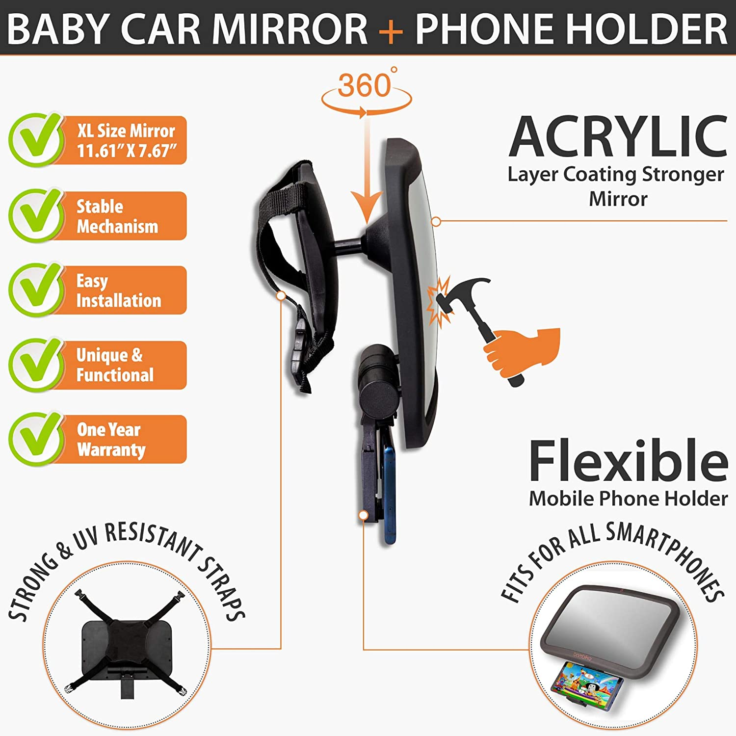 Safety Monitor for Fixed Headrest Backseat Bambiko Baby Car Mirror with Phone Holder set pack LARGE size Rear Wide View Stable Infant interior mirror Compatible For all SmartPhones,360/° Adjustable