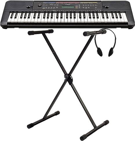 Yamaha PSR de E263 Keyboard Set (Ideal para principiantes, incluye soporte para teclado y multifunciones de auriculares), color negro