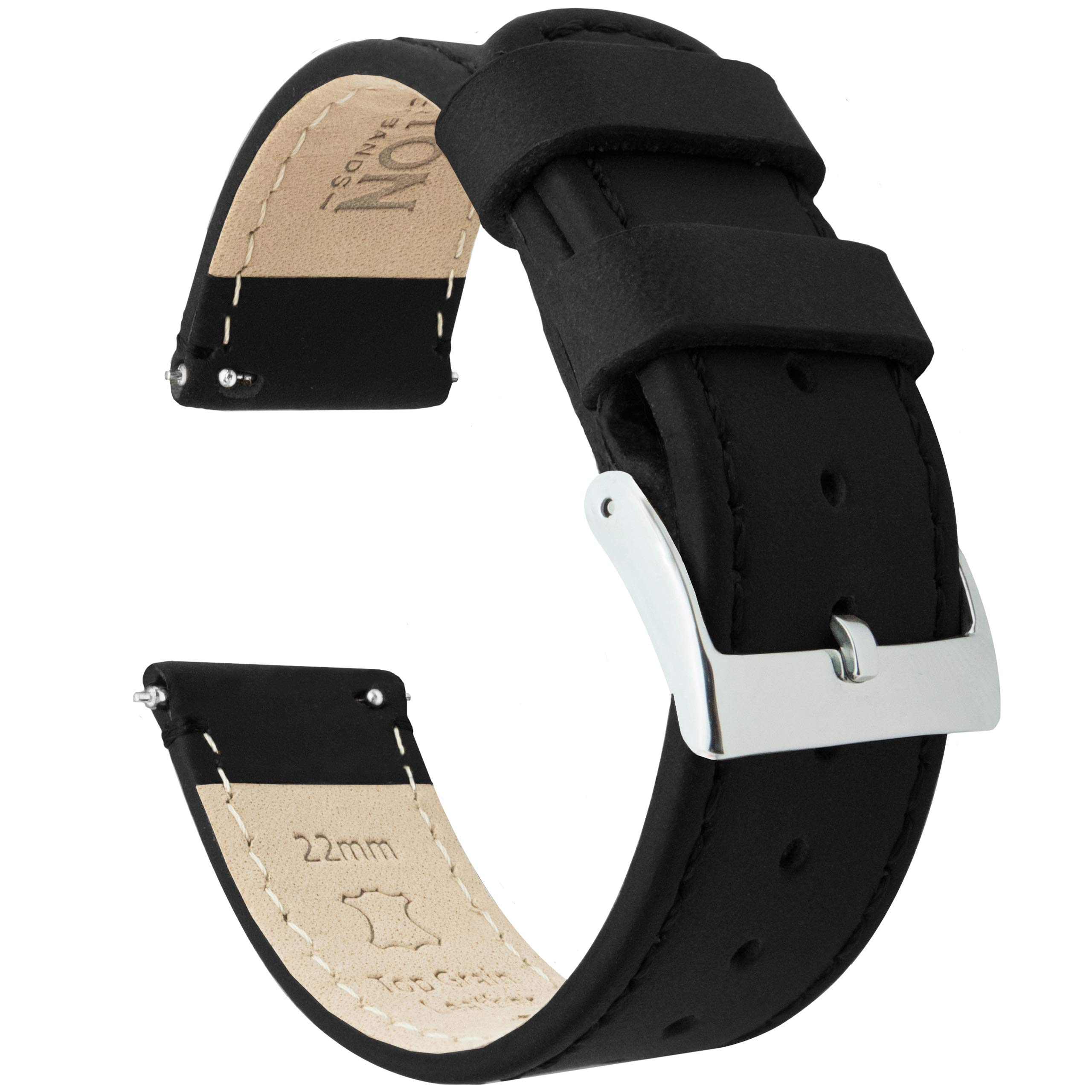22mm Black - Standard Length - Barton Quick Release - Top Grain Leather Watch Band Strap by Barton Watch Bands