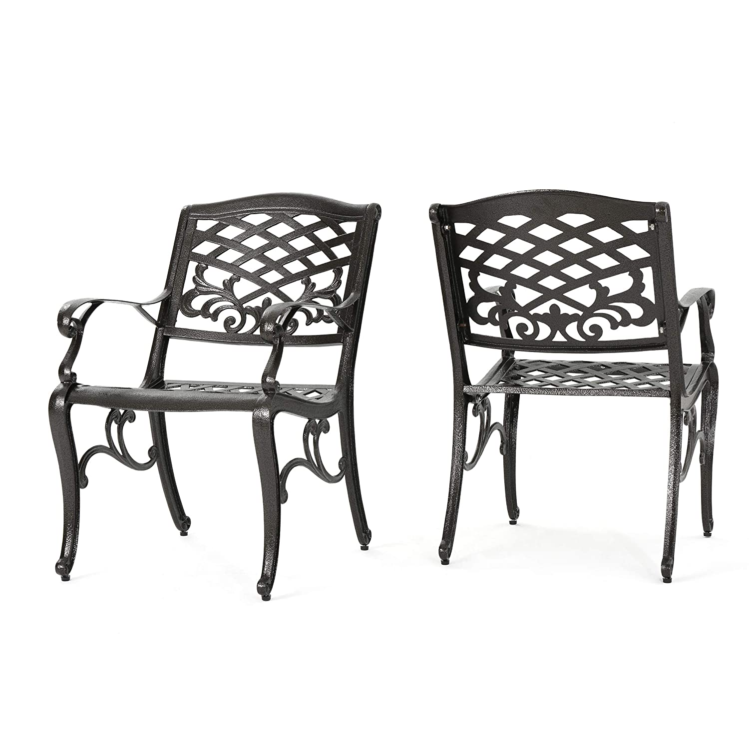 Amazon com covington cast aluminum outdoor dining chairs outdoor furniture accent 1seats for patio or porch 2 piece set garden outdoor