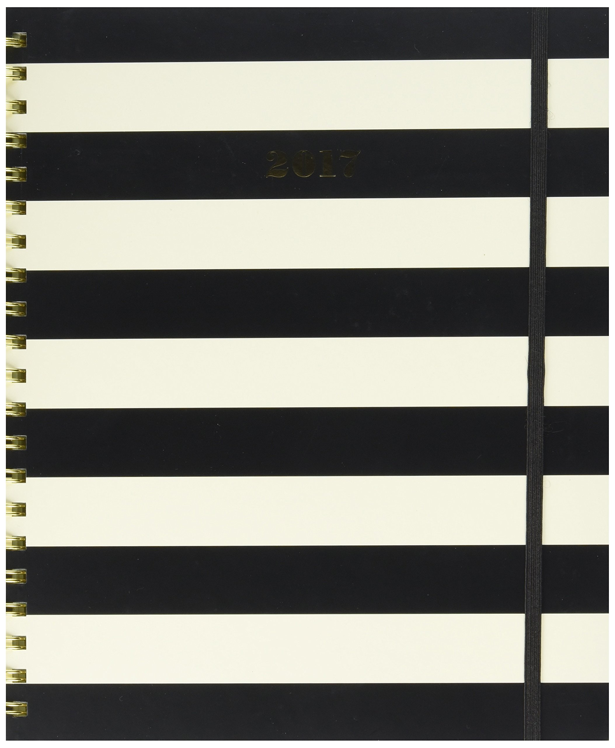kate spade new york 2016-17 Jumbo Spiral Agenda, Black Stripe by Kate Spade New York