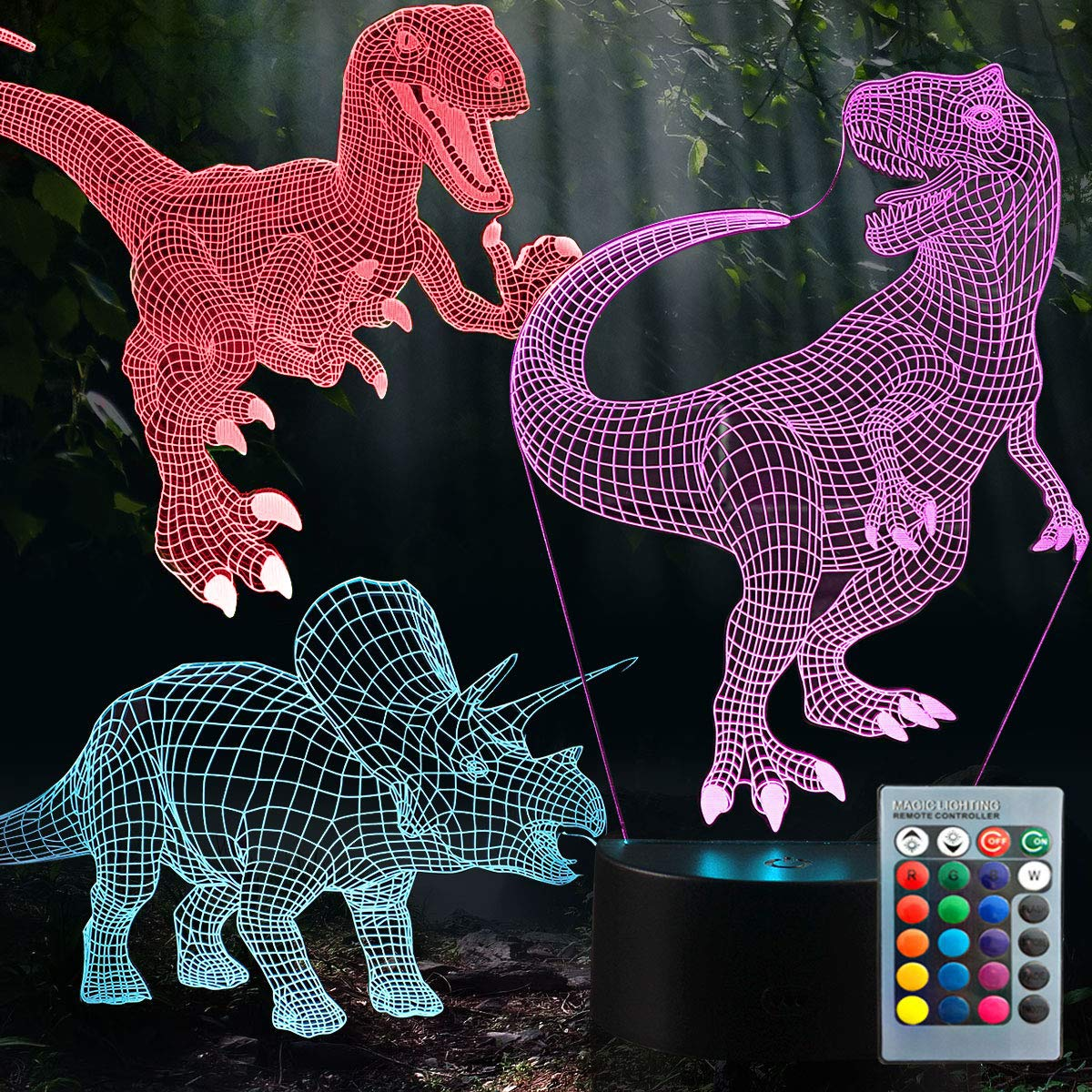 HutaoLi 3D Dinosaur Night Light - 3D Illusion Lamp Three Pattern and 7 Color Change Decor Lamp with Remote Control for Kids, Dinosaur Gifts for Kids