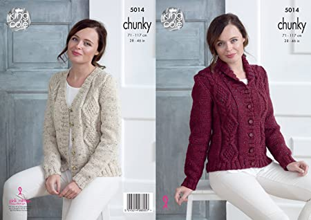 391a67a69bea King Cole Ladies Chunky Knitting Pattern Womens Cabled V Neck or ...
