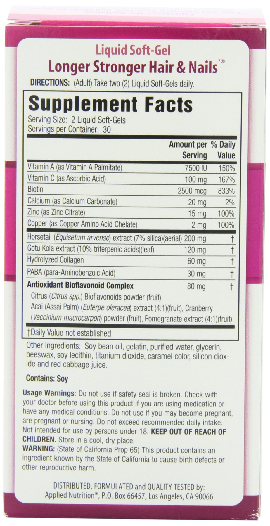 Applied Nutrition Longer Stronger Hair And Nails 60 Count