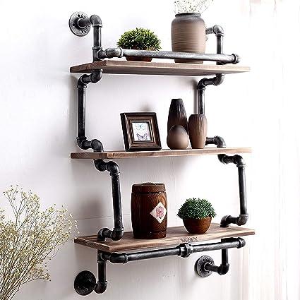 Shelves 3 niveles de tubo industrial de pared vintage rústico ...