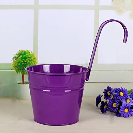 Mr. Garden 6 Inch Flower Pots Garden Pots Balcony Hanging Planter Iron  Bucket Holders,