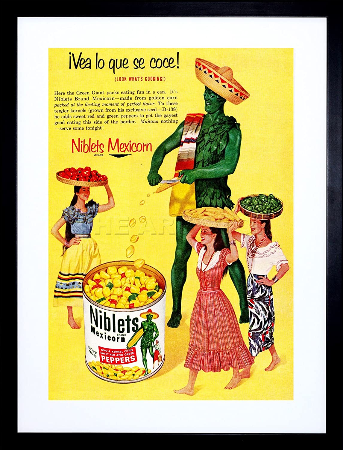 Amazon.com: AD FOOD SWEETCORN TIN CAN MEXICAN PEPPER US ART FRAME ...