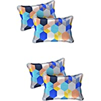 "Amrange Designer Printed 4 Piece Cotton Pillow Cover Set - 17"" x 27"", Multicolour"