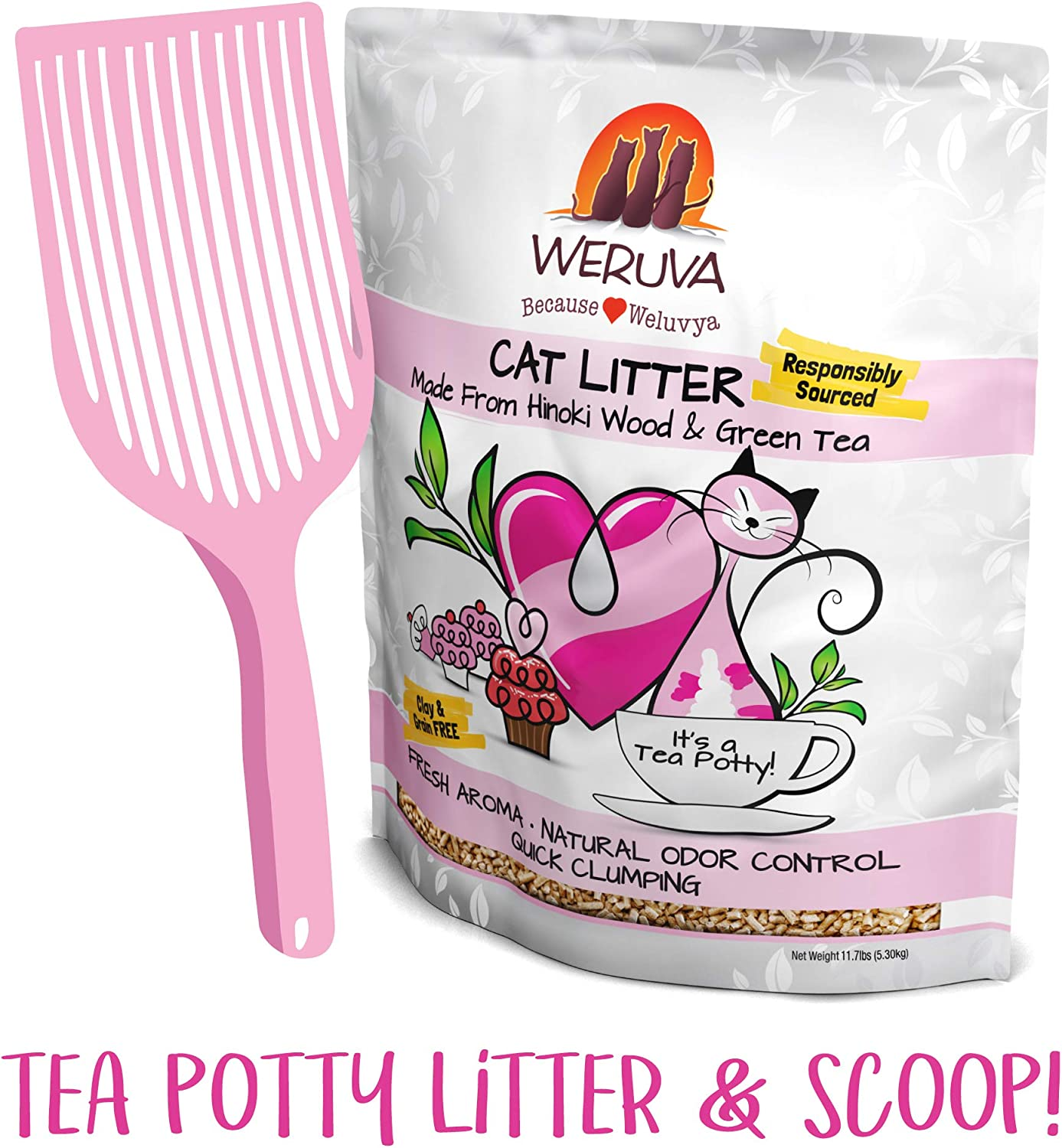Weruva It's Potty Time Cat Litter and Pelleted Litter Scoop, 11.7 Pounds