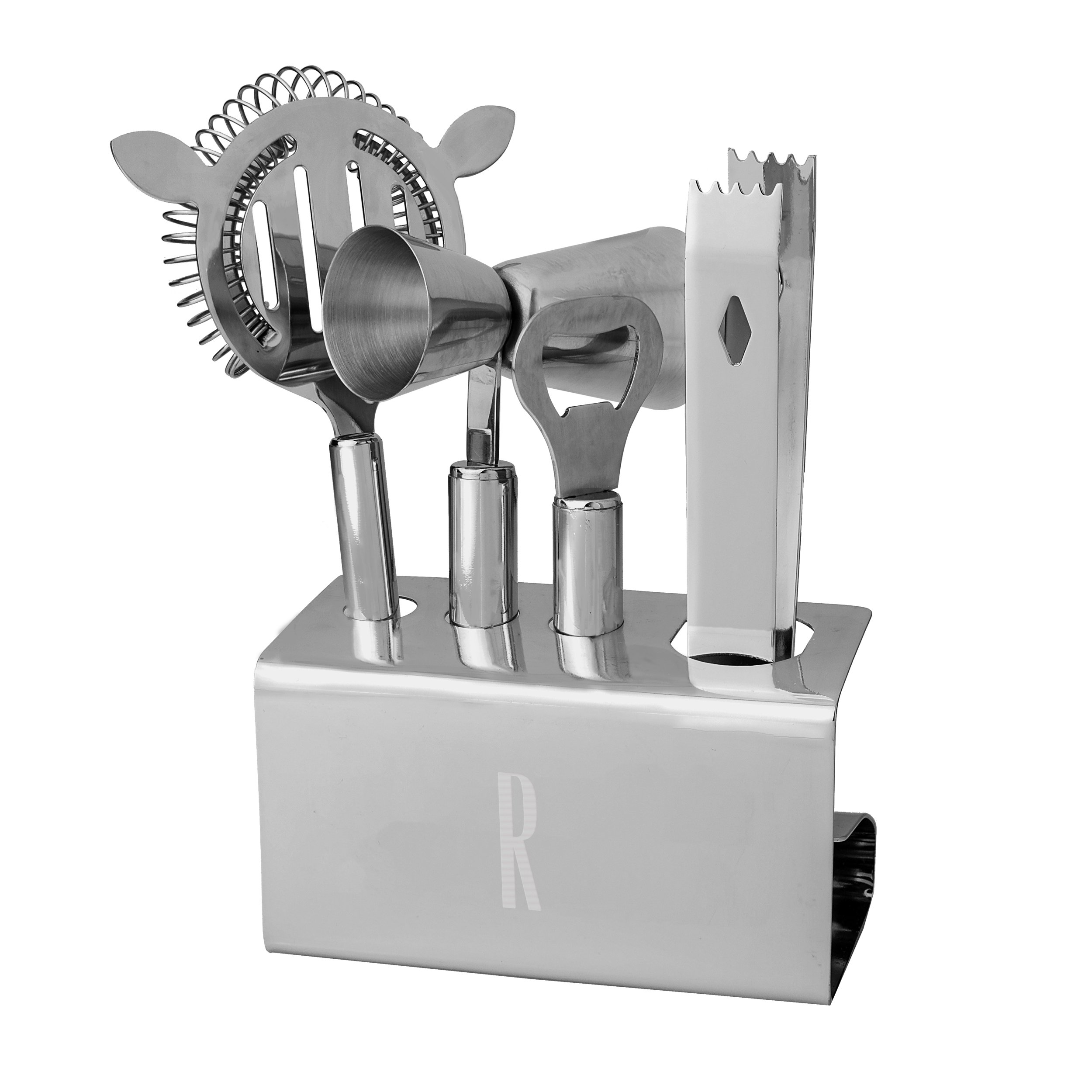 Cathy's Concepts Personalized Stainless Steel Mixology Set, Letter R