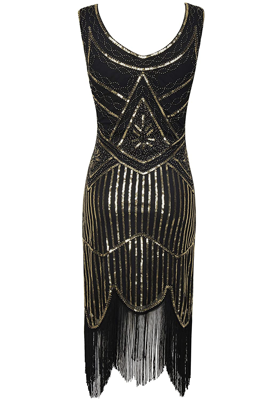 Amazon.com  BABEYOND 1920s Flapper Dress Roaring 20s Great Gatsby Costume  Dress Fringed Sequin Dress Embellished Art Deco Dress  Clothing c9714582b6bf