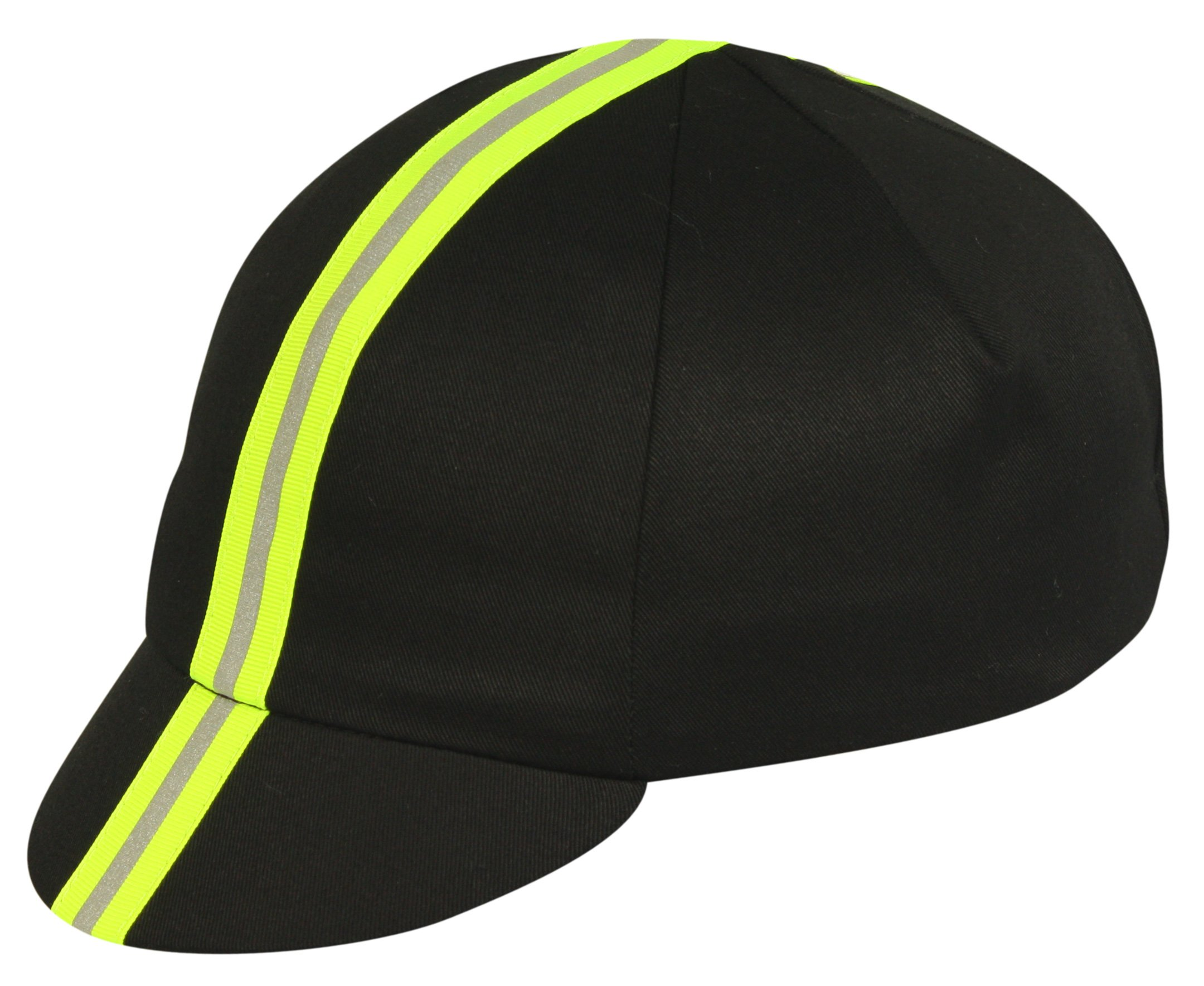 Pace Sportswear Traditional Reflective Cap, Black/Neon Yellow