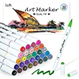 Dual Tip Alcohol Based Art Markers, Lineon 30 Colors Alcohol Marker Pens Perfect for Kids Adult Coloring Books Sketching and