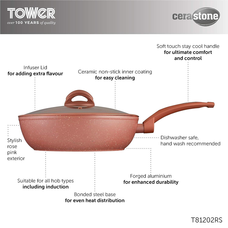 Tower T81202RS - Tapa para sartenes, aluminio, color rosa ...