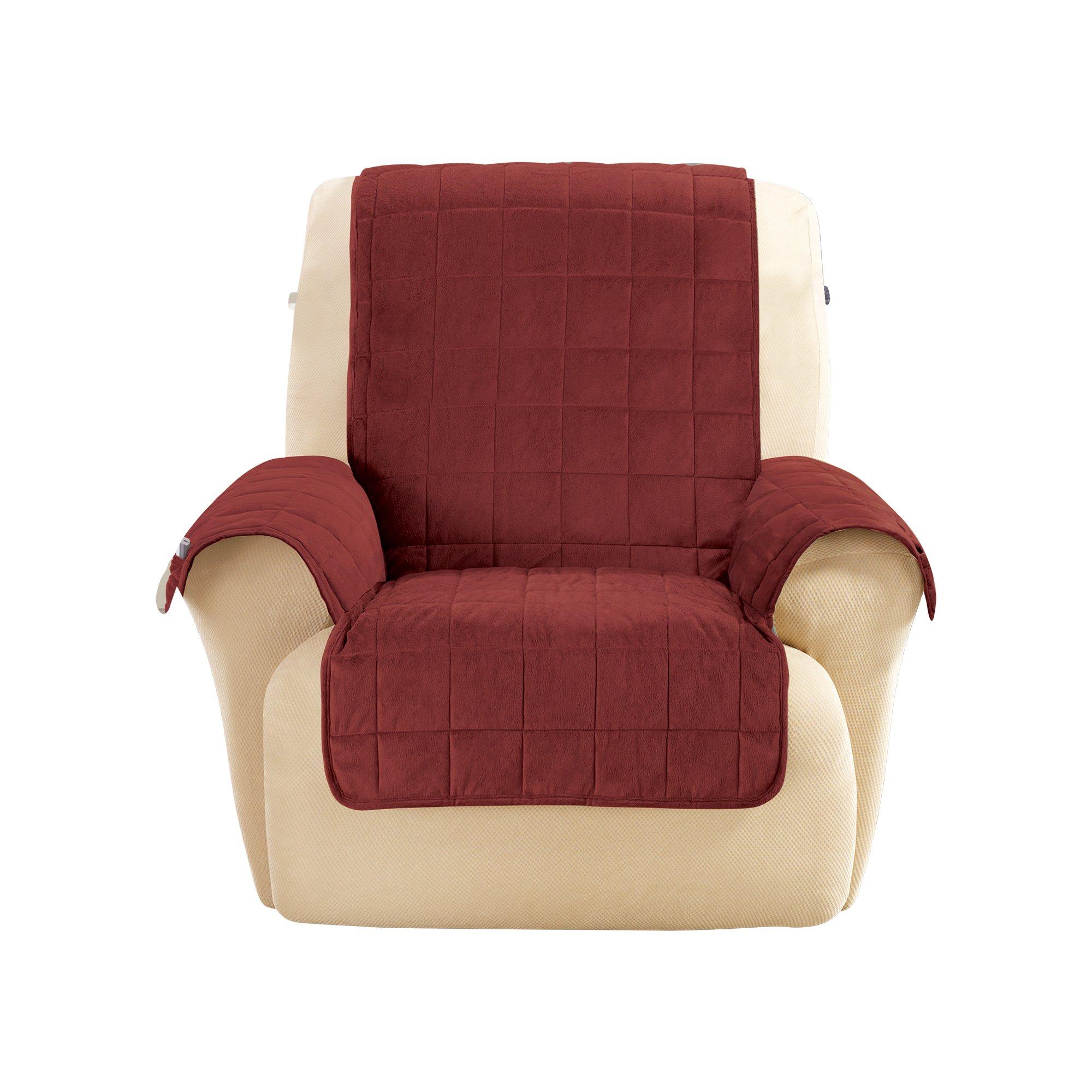 Sure Fit Deep Pile Velvet Recliner Furniture Cover - Burgundy (SF43708)