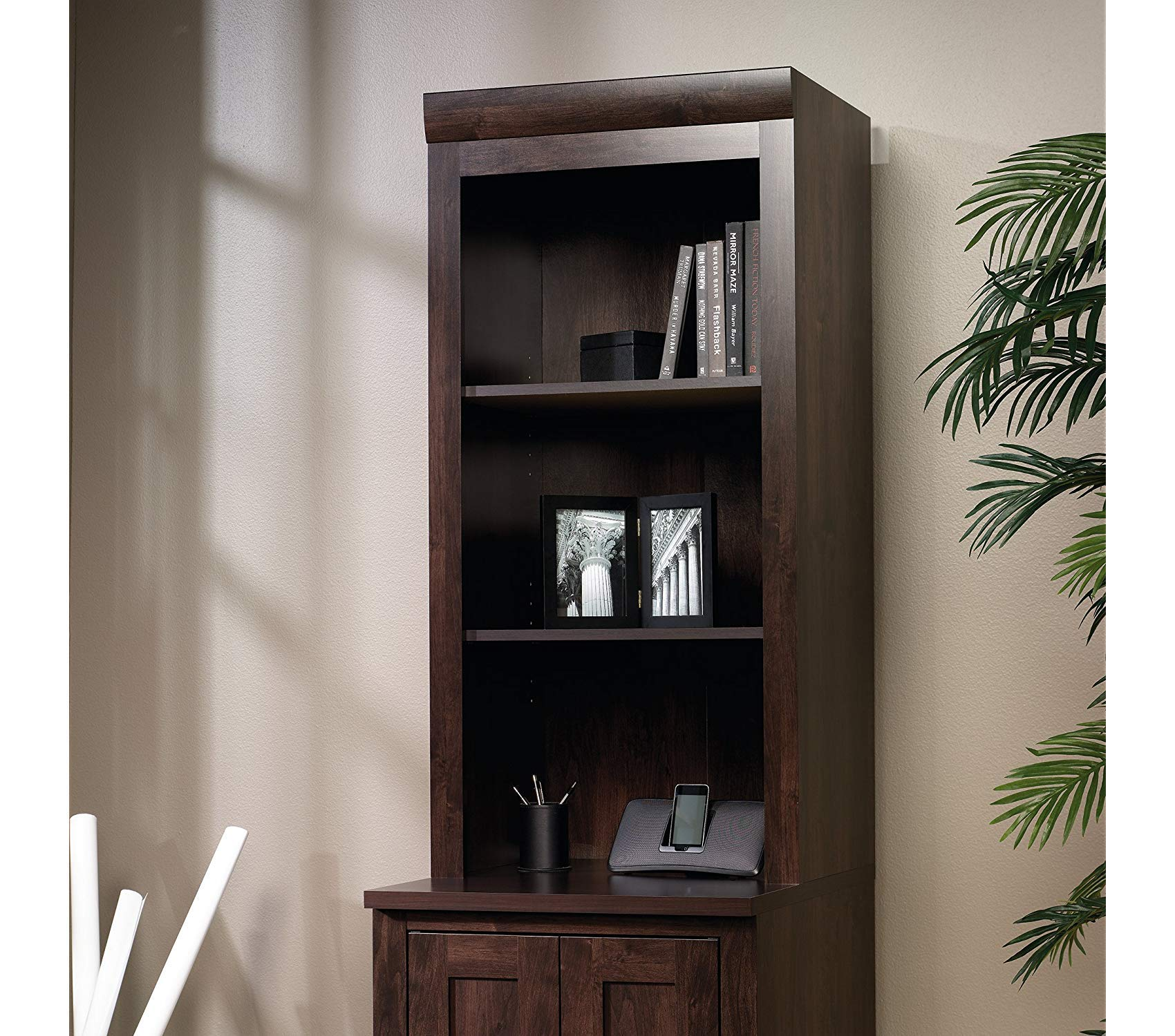 Sаudеr Deluxe Premium Collection Office Port Hutch L: 23.39'' x W: 15.63'' x H: 47.17'' Dark Alder Finish Decor Comfy Living Furniture by Sаudеr (Image #2)
