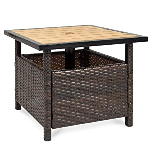 Best Choice Products Wicker Patio Umbrella Stand Table with Umbrella Hole, Outdoor Furniture for Garden, Pool, Deck w/UV Resistant Frame - Brown