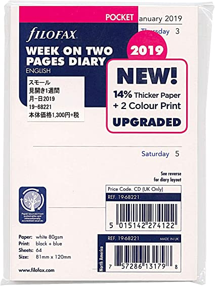 2021 Filofax Pocket Size Refill 21-68221 81mm x 120mm Week On Two Pages