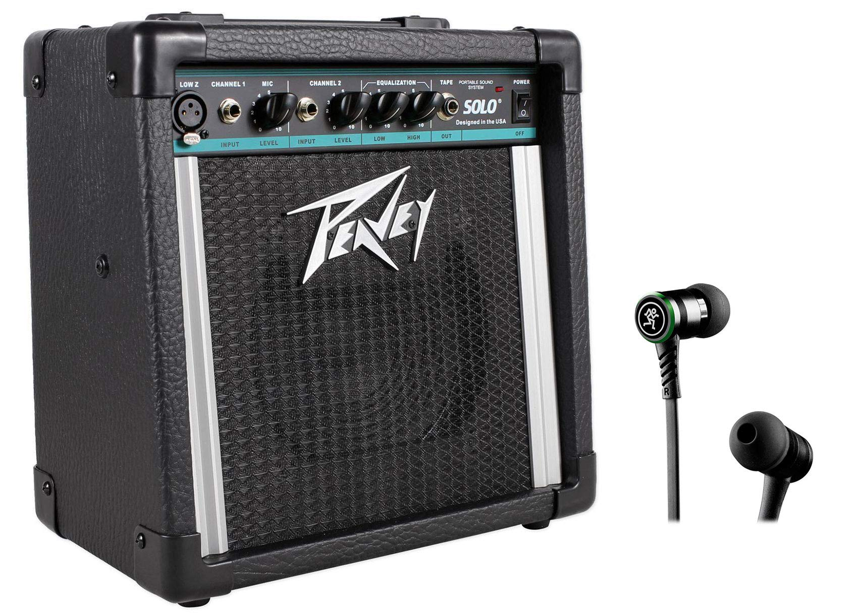 Peavey Solo Portable 2-Channel Battery Powered PA Sound System+Mackie Earbuds by Peavey