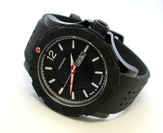 WARTBURG Reloj Deportivo de Hombre fabricado en Alemania acero inoxidable negro rojo Day Date 47 mm: Amazon.es: Relojes