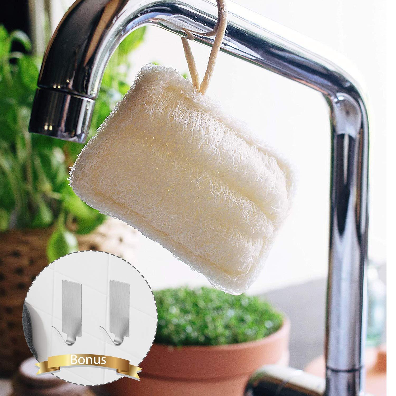 /Éponges /à Vaisselle,GVOO /Éponge de Loofah 8 Pi/èces /Éponges Loofah Naturelles /Éponges Naturelles Laveur de Vaisselle /Éponges Vertes Naturelles pour Nettoyage de Vaisselle,avec 2 Crochets Adh/ésif