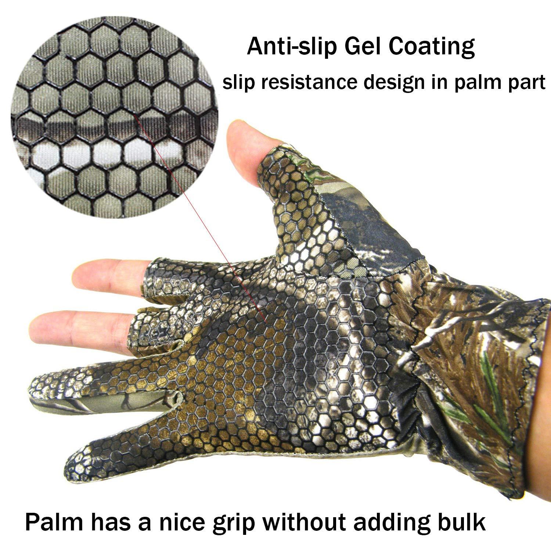 Unbekannt Thin Fingerless 3 Finger Angeln Gel Handschuh Camo Anti Slip elastischen Jagd Angeln Handschuhe
