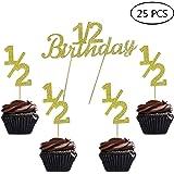 1 2 Birthday Gold Glitter Cake Cupcake Topper Picks For Celebrating Sweet 6 Month Baby