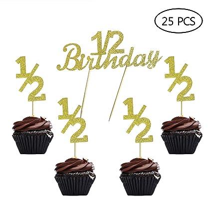 Púas de decoración para cupcakes de 1/2 cumpleaños, oro con ...