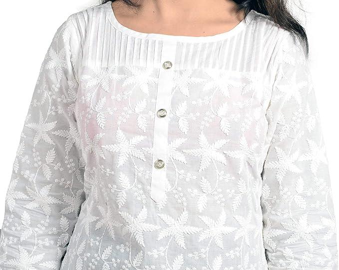 4e36b150e212 Amazon.com  Queenshield Chikankari Kurtis for Women Cotton Chikan Kari  Kurta Kurti Indian Dress for Girls Ladies - White  Clothing