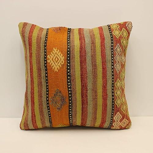 Kilim Pillow 20x20inches 50x50cm Cushion Cover Pillow Cover Handmade Turkish Kilim Pillow Bohemian Vintage Colorful Pillow Cover