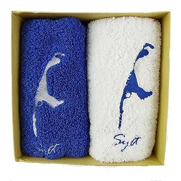 osters Conchas de Coleccionistas de Shop 2 X Toallas de Mano DE 50 x 100 cm/Azul y Blanco/Algodón/Diseño Sylt/sylter Diseño/Bordado en Caja de Regalo: ...