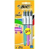 BiC - Bolígrafo de 4 colores (punta redonda, 3 unidades), diseño con colores brillantes