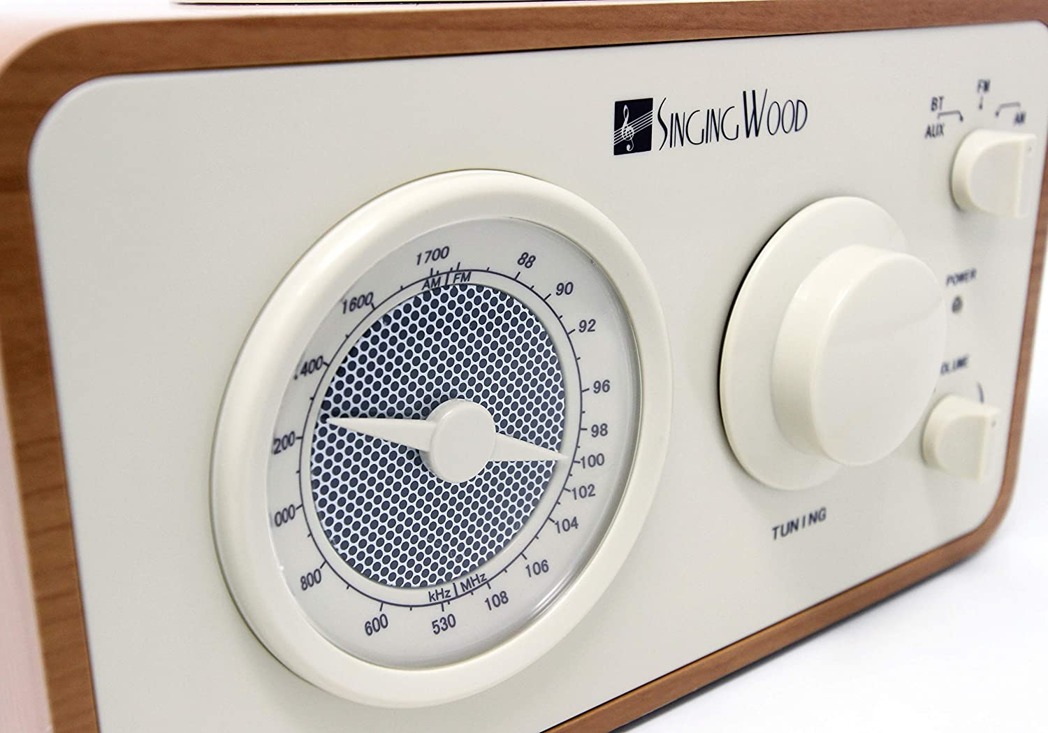 Beech Wood Color SINGING WOOD Retro Wood AM FM Radio with Bluetooth and Aux Line in Jack