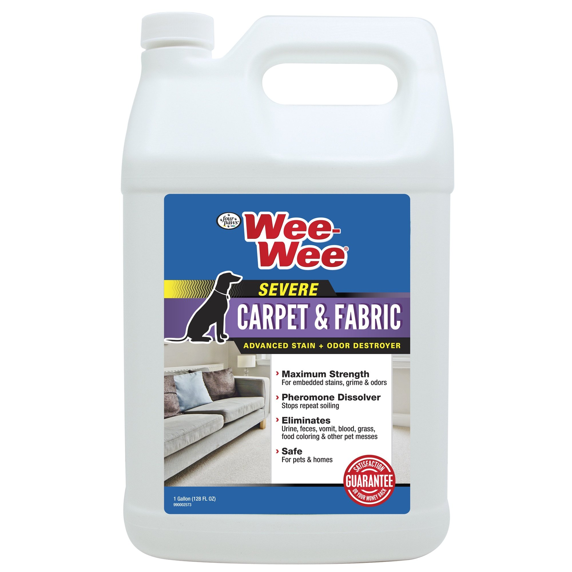 Four Paws Wee-Wee SEVERE Pet Stain & Odor Remover, Fabric & Carpet Stain Cleaner, 128 oz