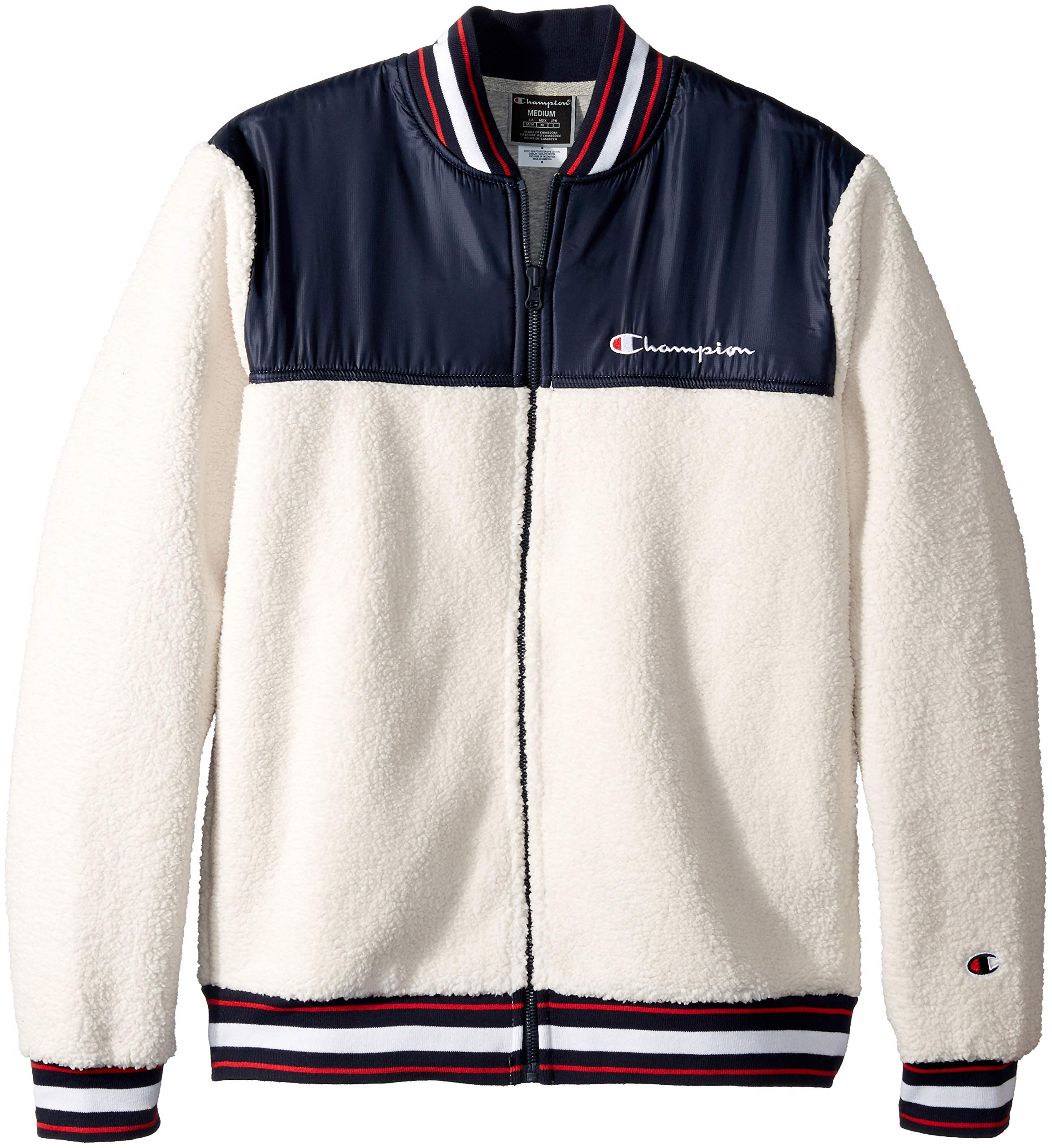 Champion LIFE Men's Sherpa Baseball Jacket, Quartz Cream/Navy, Large by Champion LIFE