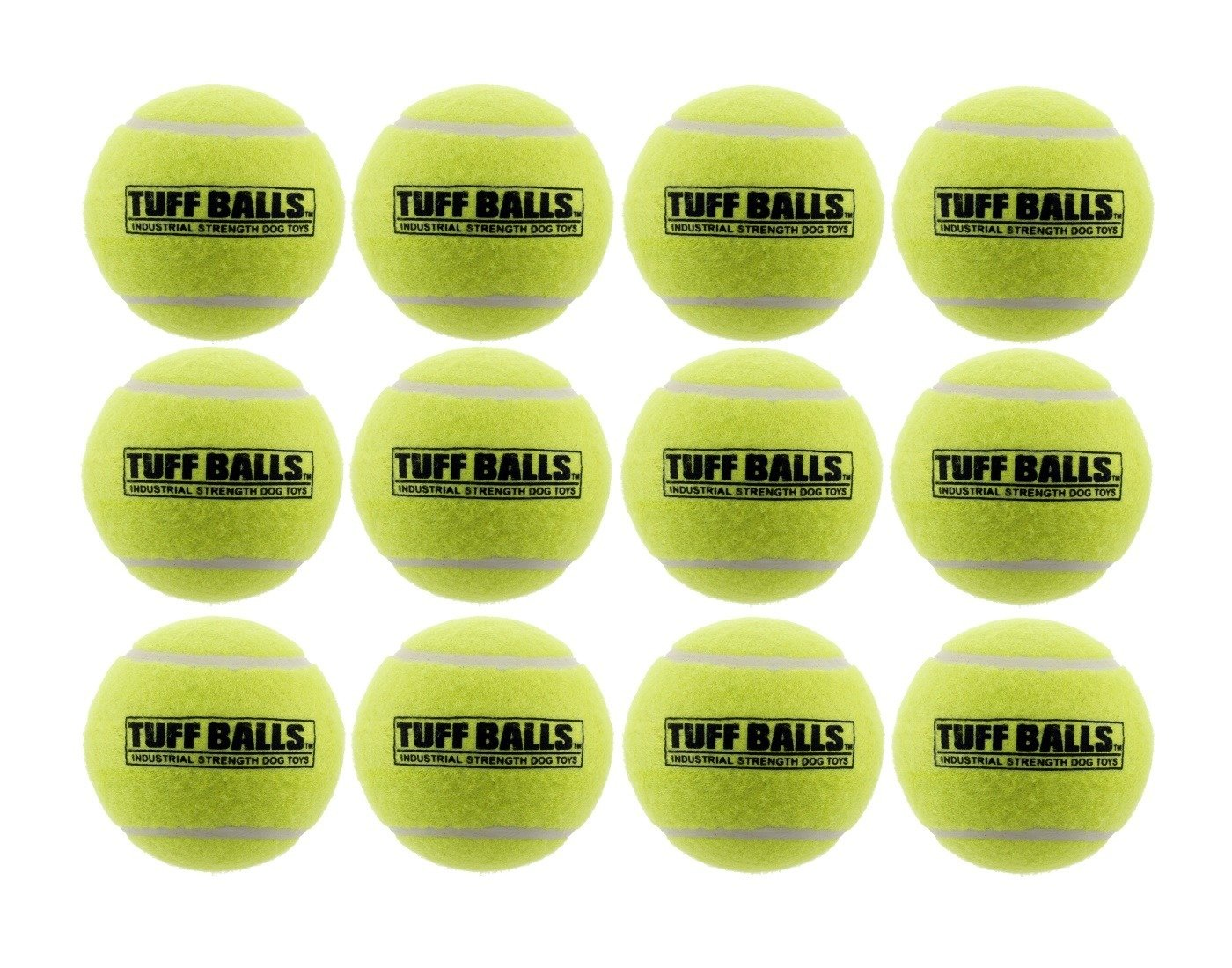 12 Tuff Balls - Industrial Strength Dog Toys, Standard Size 2.5''