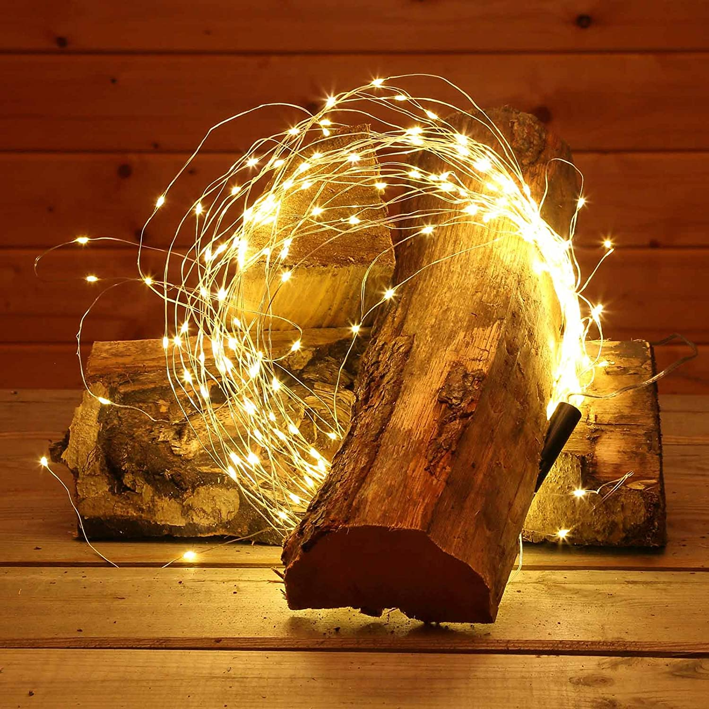 Lichterstrang 1,5 m aus Silberdraht mit 200 LED warmweiß für außen ...