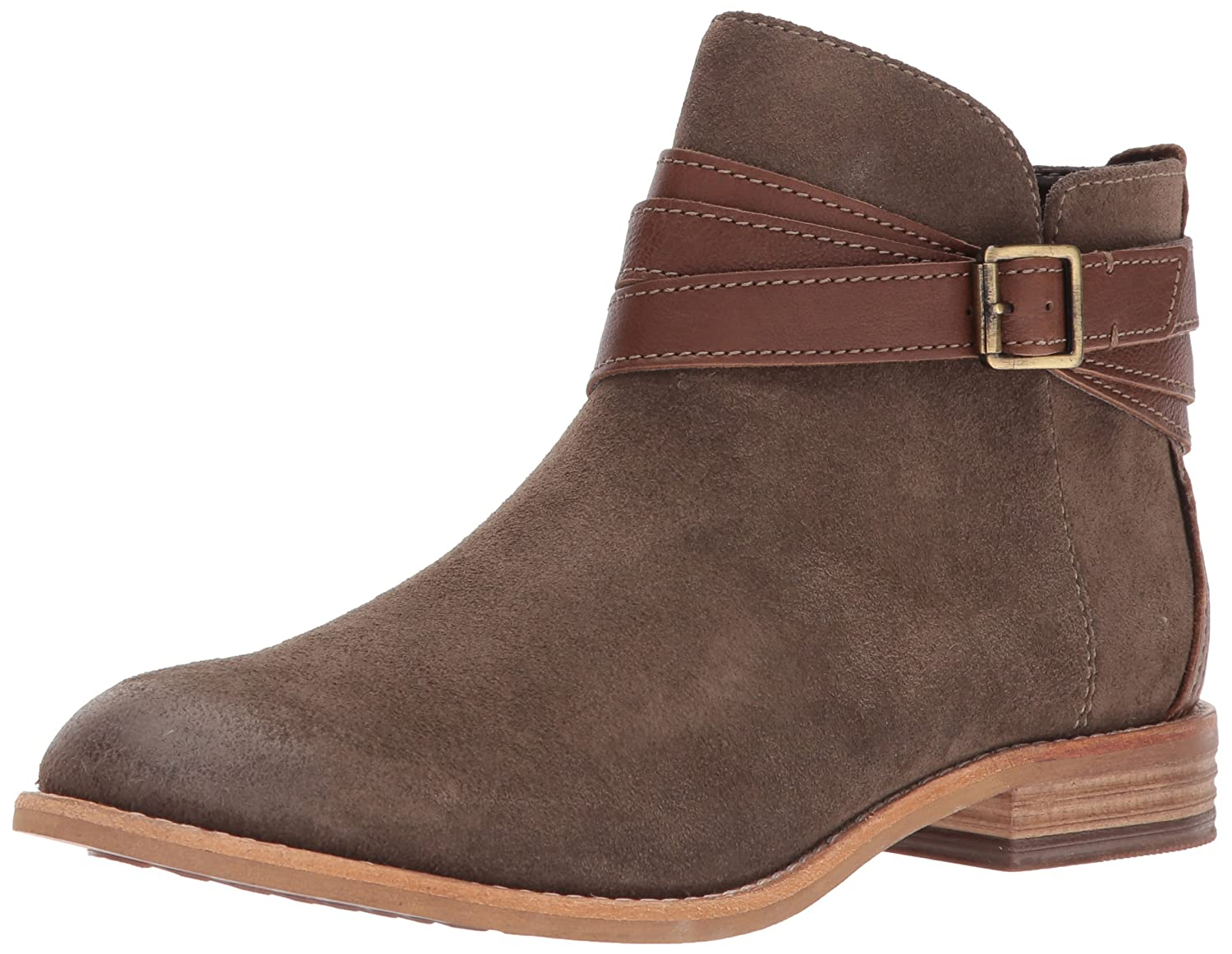 CLARKS Women's Maypearl Edie Ankle Bootie B01N0T6JV5 6.5 B(M) US|Olive Suede and Leather