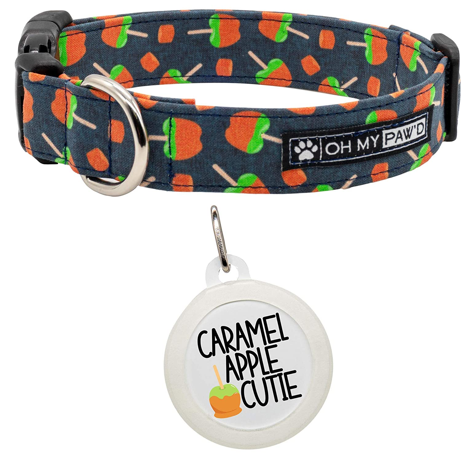 Hand Made Dog Collar by Oh My Pawd Caramel Apple Collar for Pets Size Large 1 Inch Wide and 17-25 Inches Long