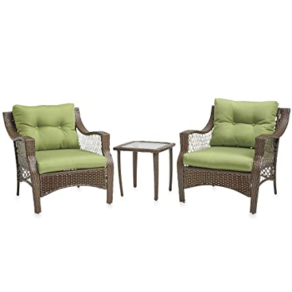 3 Piece Outdoor Patio Wicker Furniture Set With Deep Seat Cushions (Green)