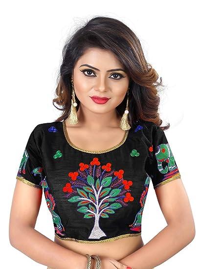 405f422fb8fb12 Kuvarba Fashion Women s Banglori Silk Stiched readymade free size Saree  Blouse (1004.black)