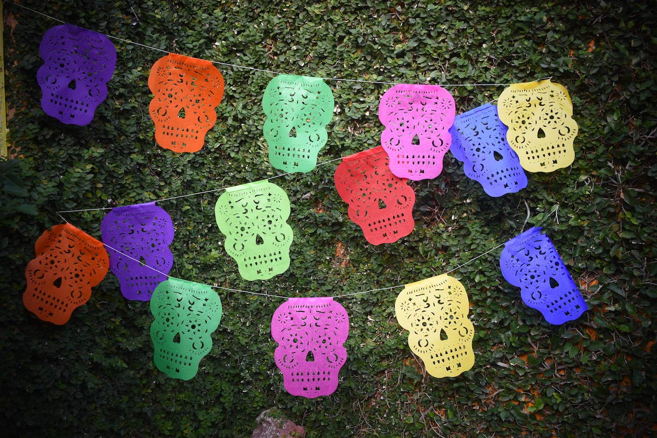 16ft Halloween Party Supplies 5 meter Paper Banner 10 Large Flags ART MEXICO Papel Picado Skull Banner Day the Dead Decorations