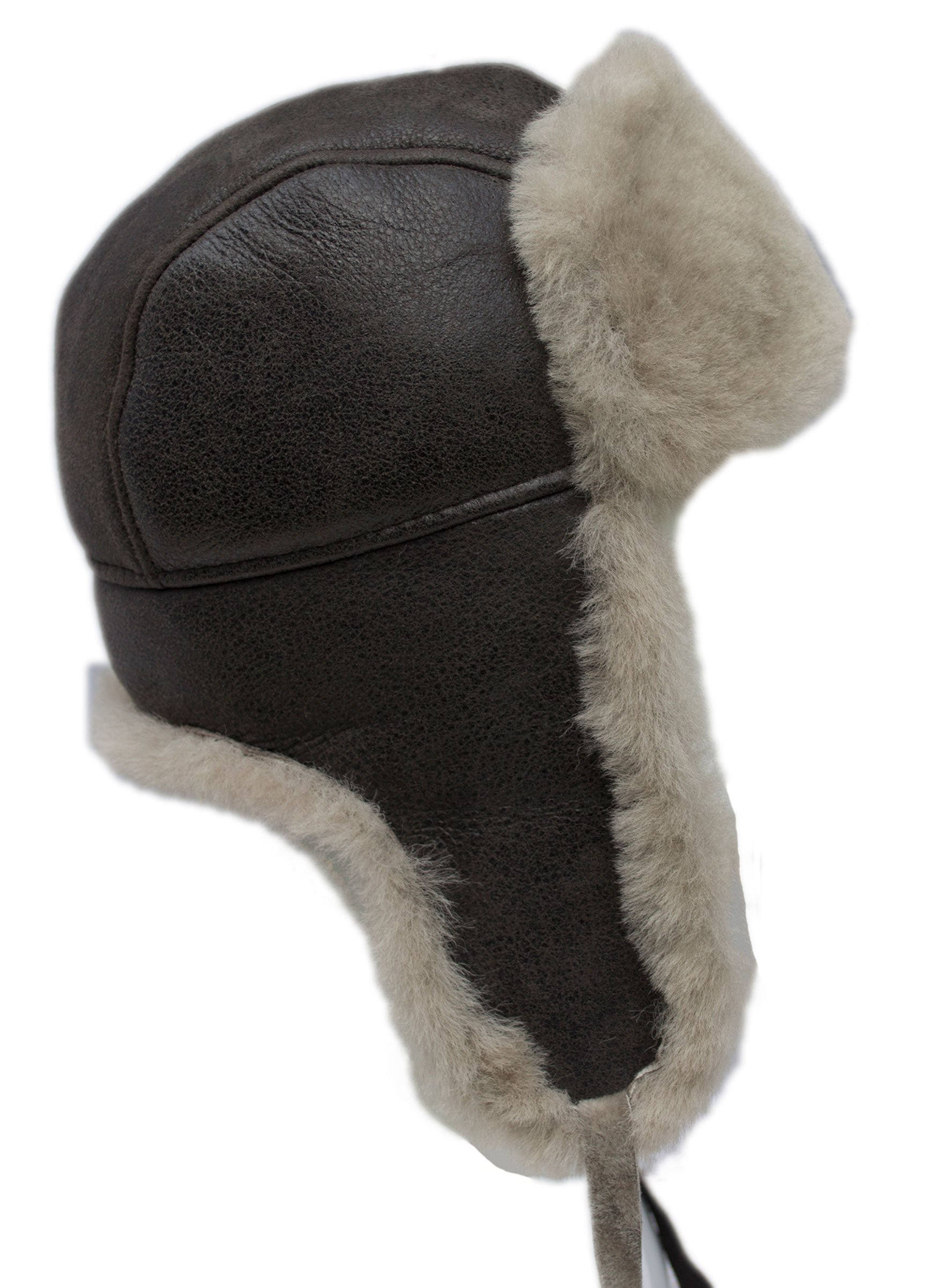 buyfurhat Women's Trapper Ushanka Aviator Russian Sheepskin Hat (XL, Beige)