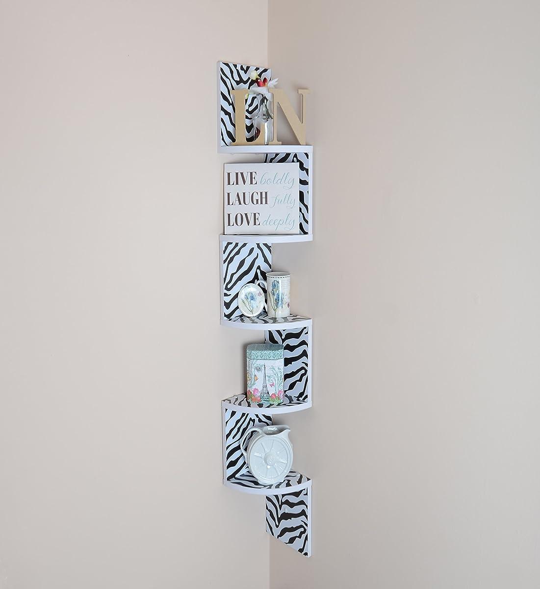 Adorn home essentials| Corner Zig Zag Wall Mount Shelves| 5-Tier, Zebra with White Edging