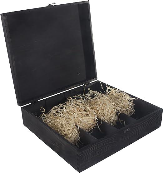 Caja de madera negra para 4 botellas de vino, bisagras y cierre de metal, caja de almacenamiento, caja de regalo, 39 x 35 x 11 cm: Amazon.es: Hogar