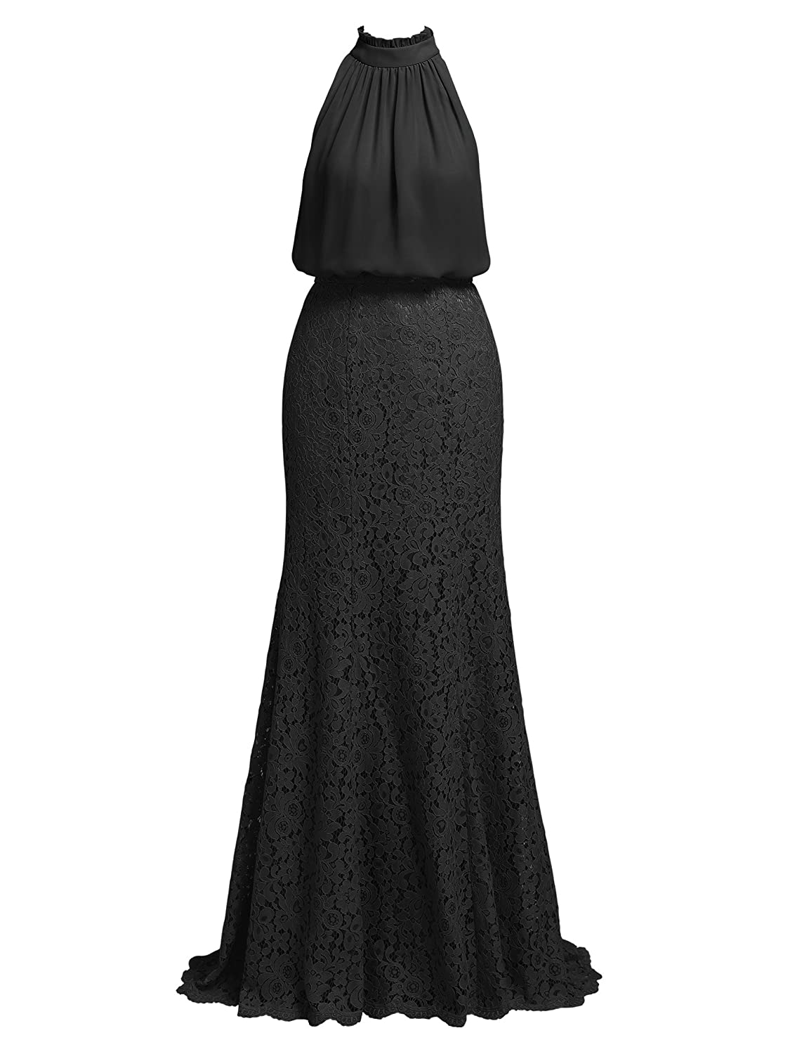 Alicepub Chiffon and Lace Formal Party Evening Dress Long Maxi ...