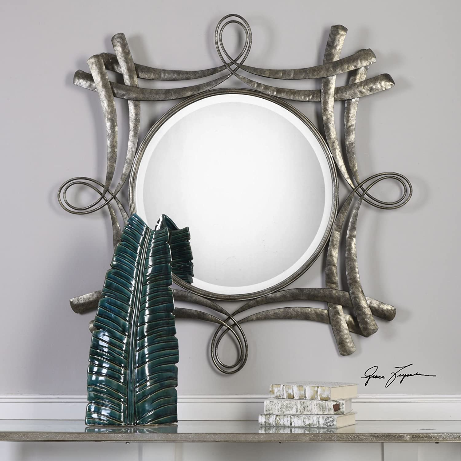 Twisted Hammered Bronze Metal Square Wall Mirror | Vanity Open Industrial