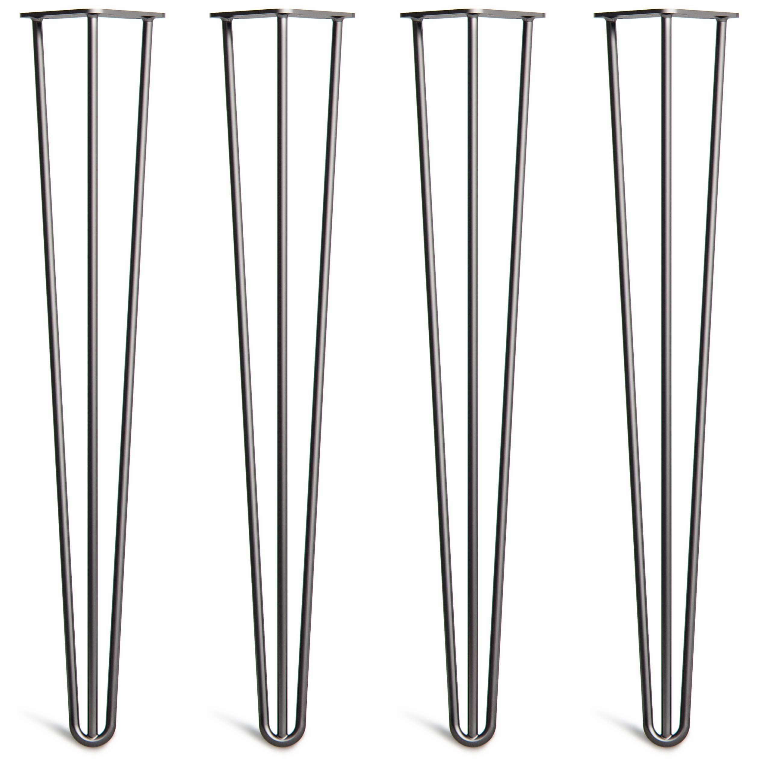 4 x Hairpin Table Legs - Superior Double Weld Steel Construction with Free Screws, Build Guide & Protector Feet, Worth $10! - 4'' to 34'', All Finishes, Classic 3/8 inch [28'', 3 Rod, Black]