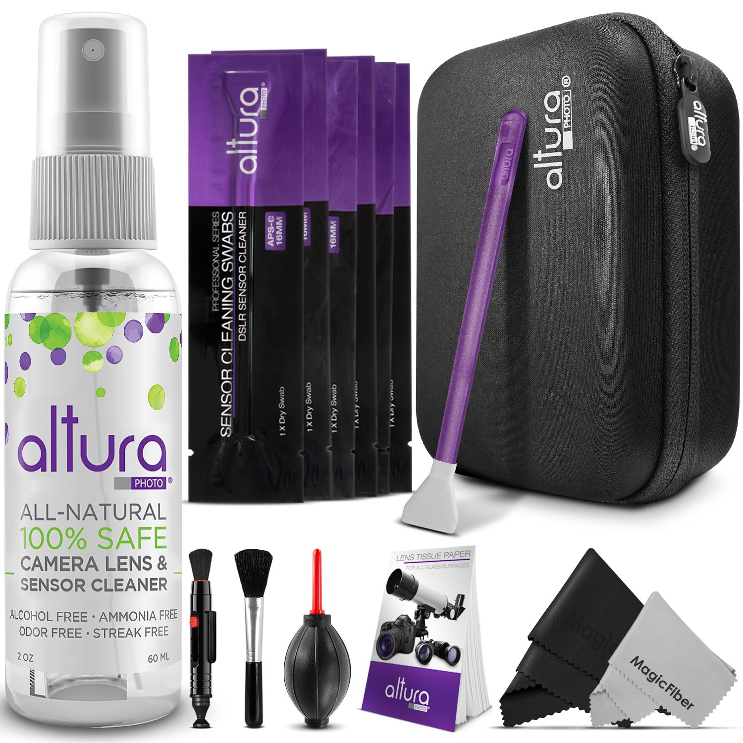 Altura Photo Professional Cleaning Kit for DSLR Cameras and Sensors Bundle with APS-C Sensor Cleaning Swabs and Carry Case by Altura Photo